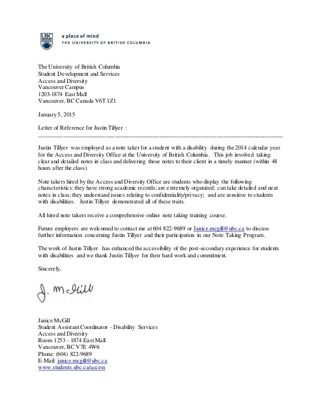 Letters Of Recommendation Reference Letter The University Of British Columbia