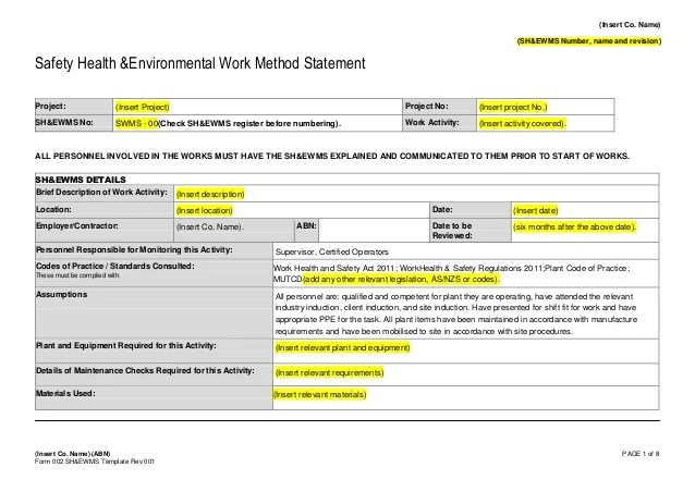 Safe Work Method Statement Template Qld Free  Resume Template