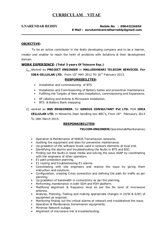 Project Manager Resume Sample Writing Guide Rg Surukanti Narendar Reddy Telecom Project Manager Resume 1