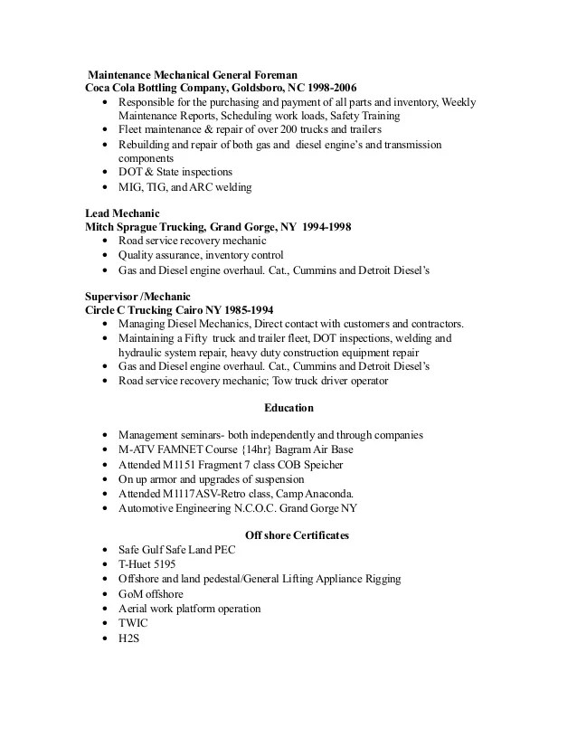 heavy duty mechanic resume examples - Alannoscrapleftbehind
