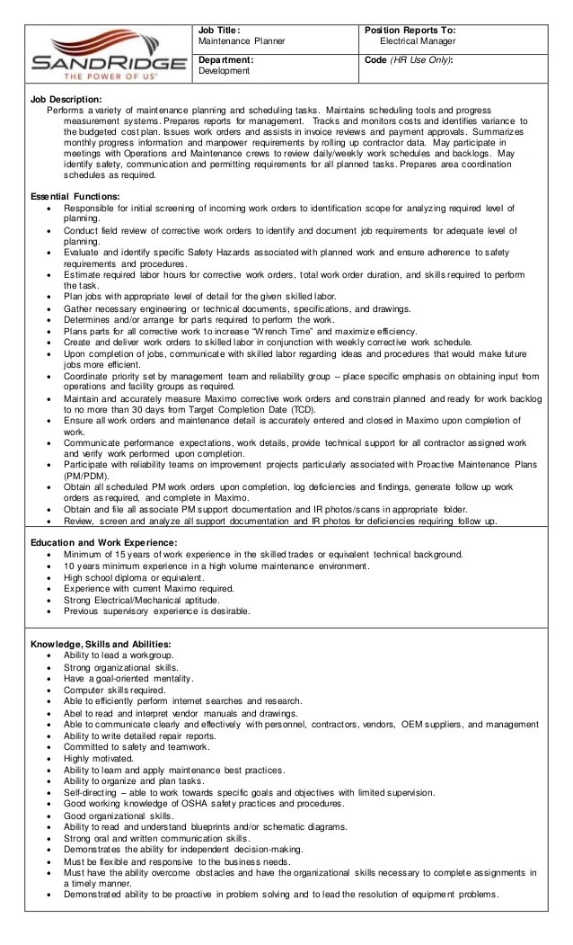 planner scheduler job description - Roho4senses