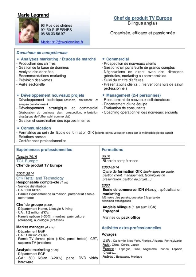 differents domaines de competences da s un cv