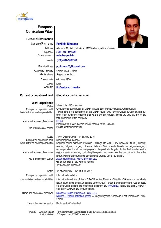 cv example europass english