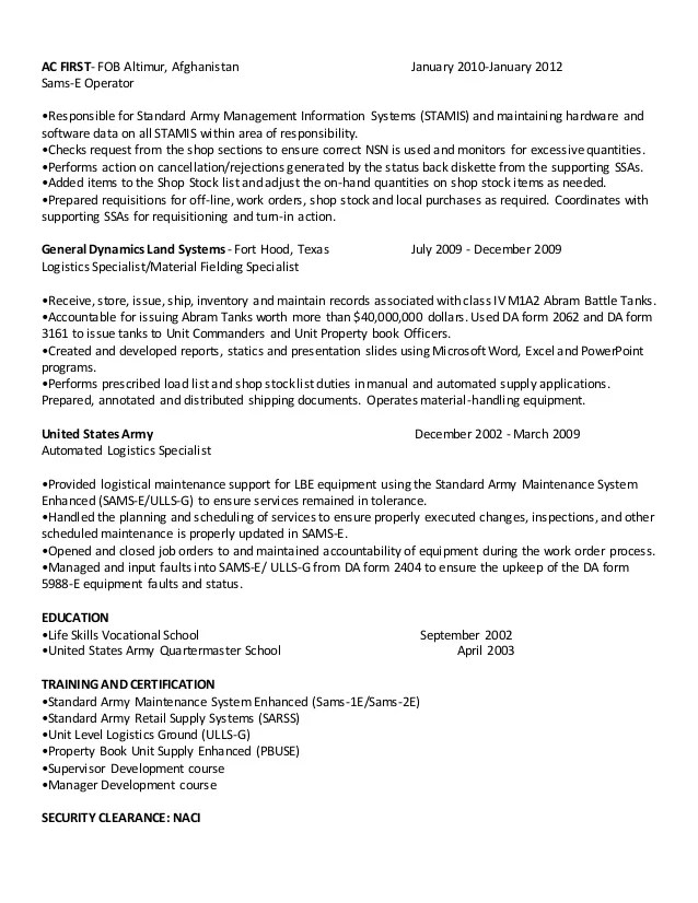 Automated Logistic Specialist Resume Esl Thesis Proposal - automated logistical specialist sample resume