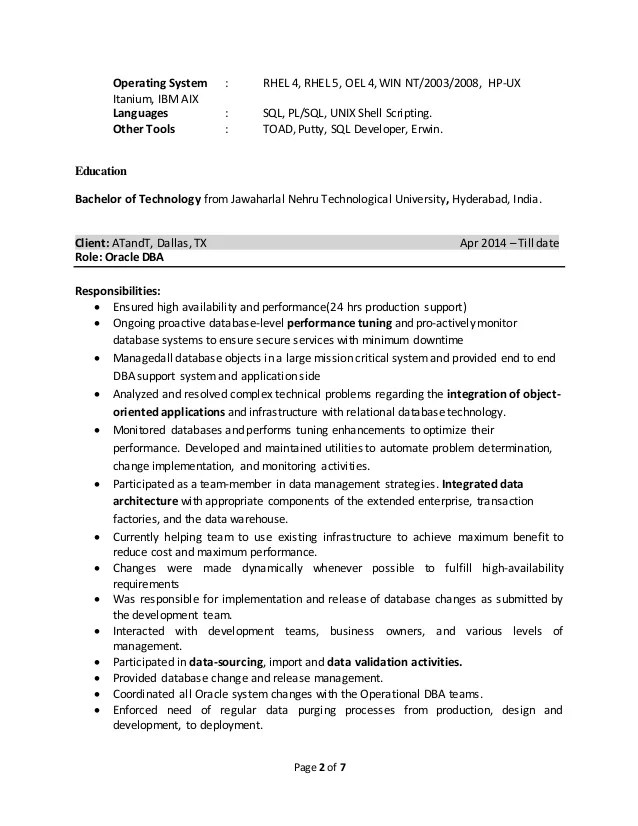 oracle dba resume for 4 year experience - Onwebioinnovate - Dba Resume