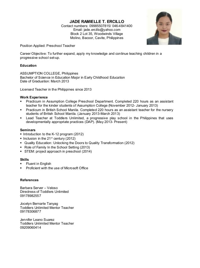 resume for licensed teacher