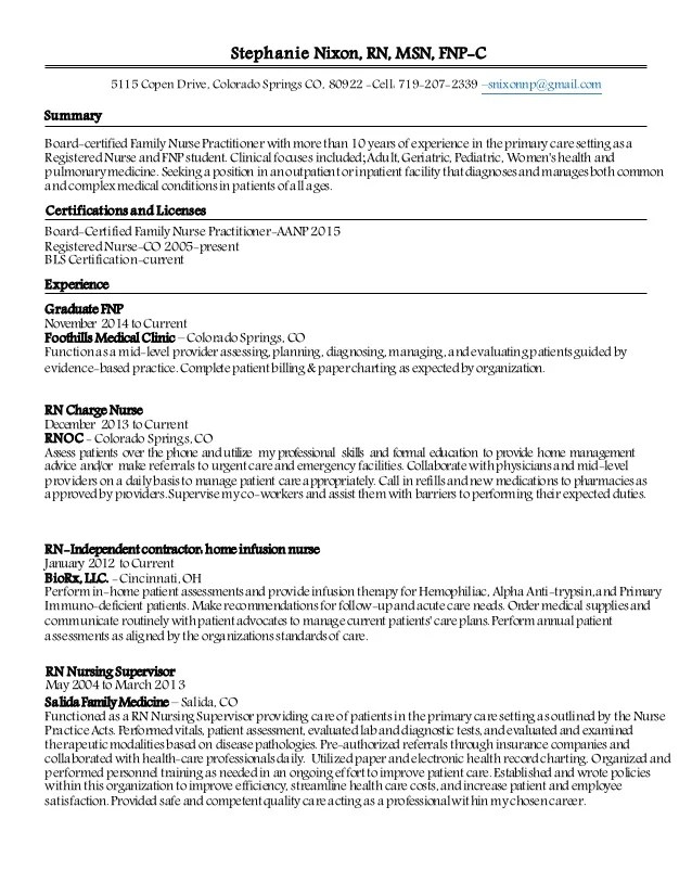 nur nurse practitioner resume example on resume objective example - Sample Nicu Nursing Resume