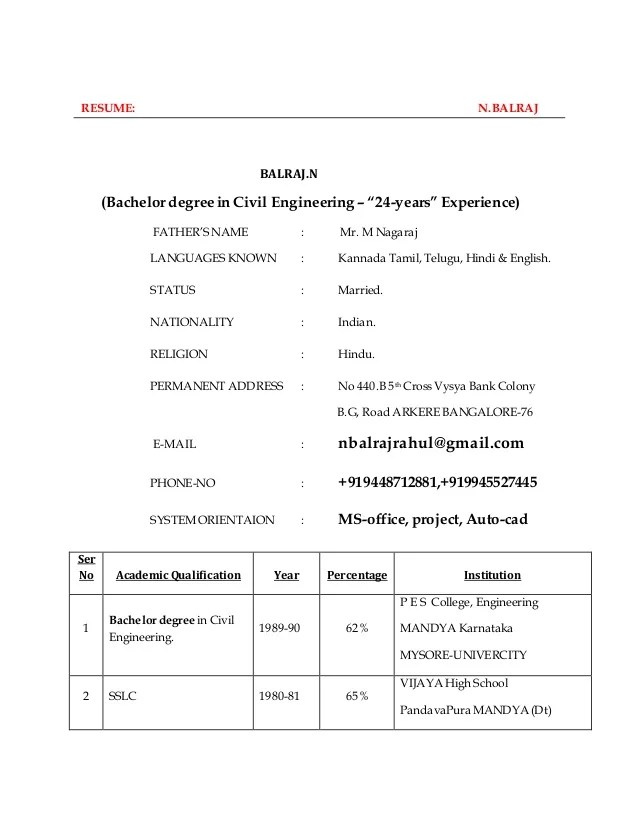Free Resume Format Basic Resume Format Eduers Bio Data A