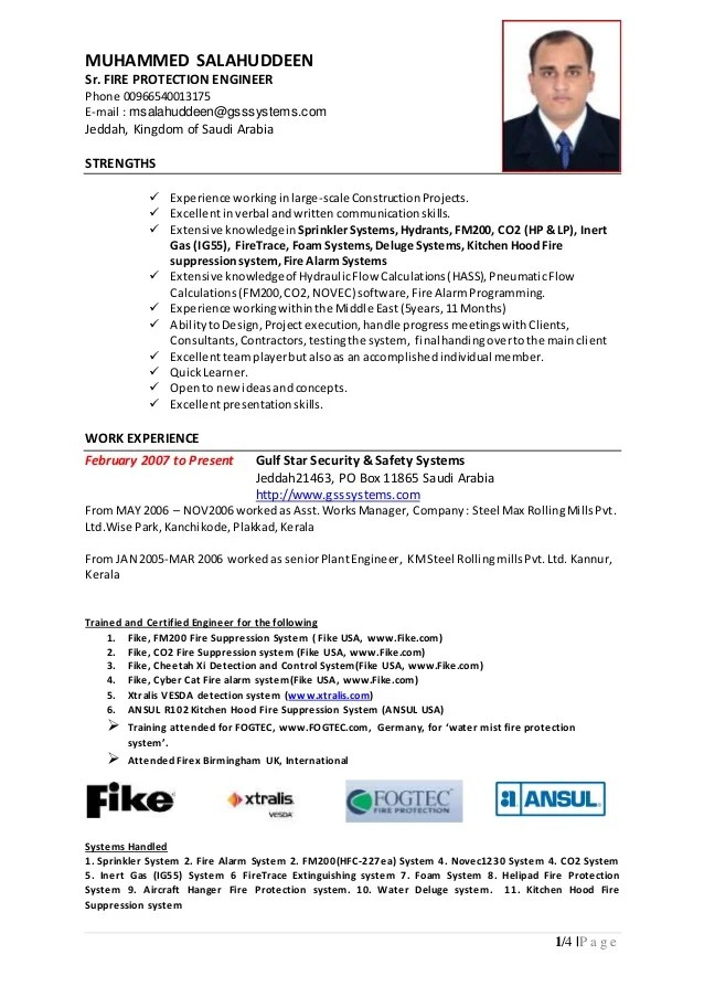 fire safety engineer resume - Onwebioinnovate - functional safety engineer sample resume