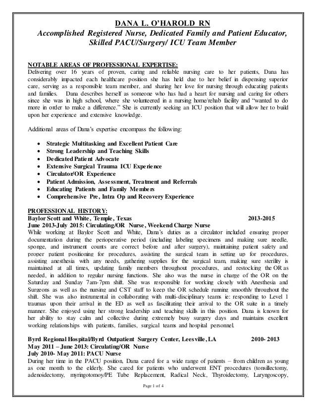 pacu rn resume pacu rn - Ozilalmanoof - sane nurse sample resume