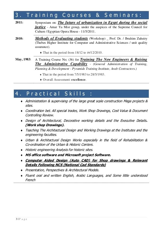 cv in english for training period