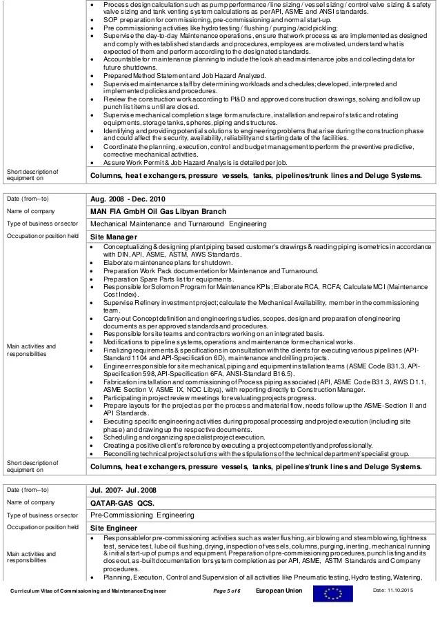 Hvac Commissioning Engineer Sample Resume Professional Mechanical - hvac commissioning engineer sample resume
