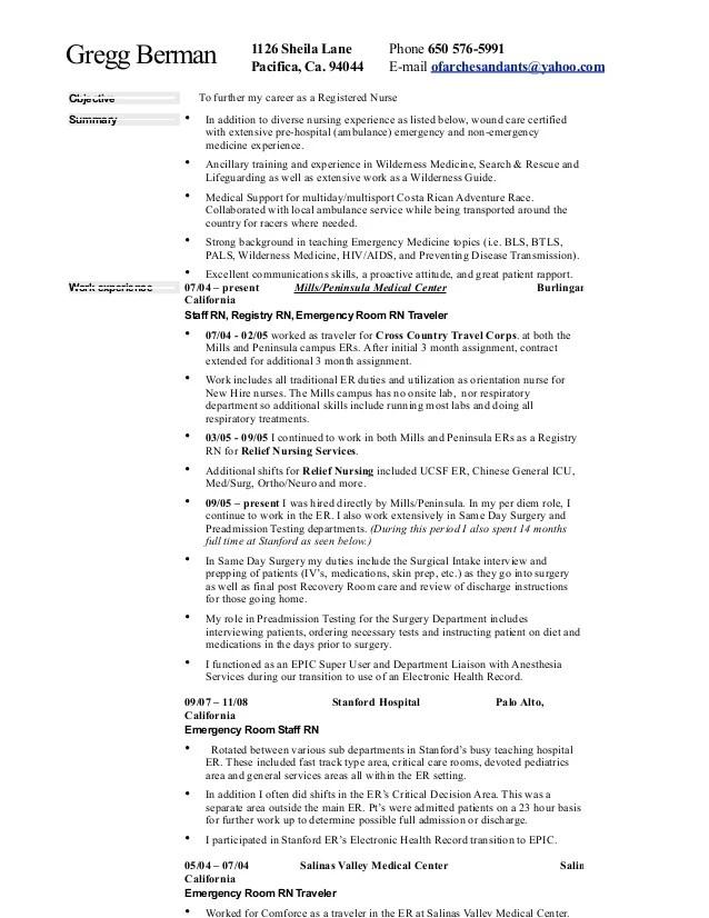 emergency nurse resume - Selol-ink