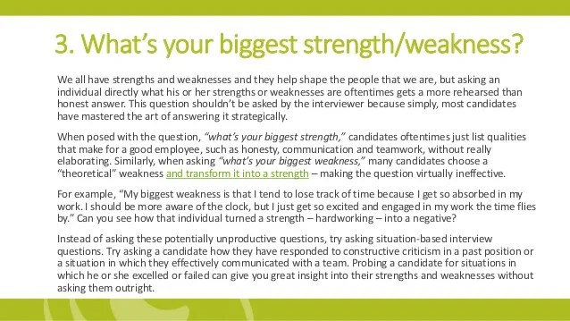 strengths and weaknesses in interviews