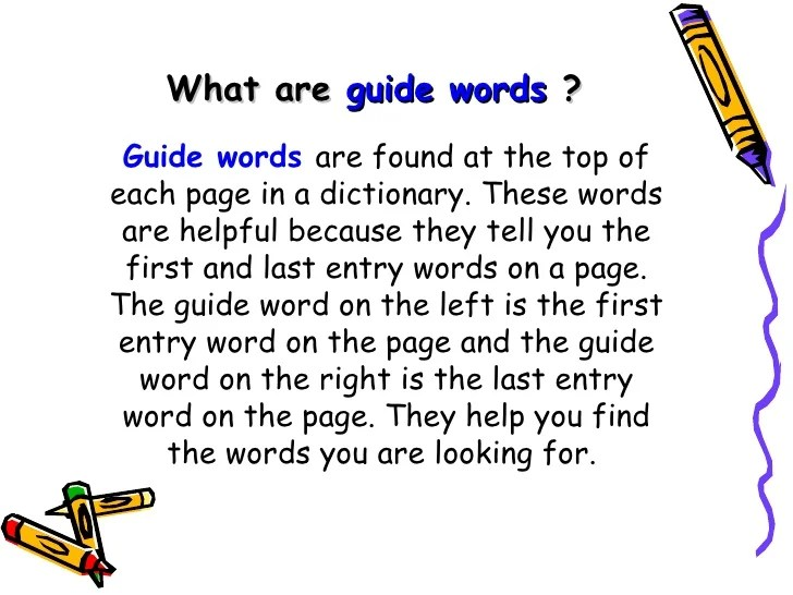 3rd Dictionary & Guide Words