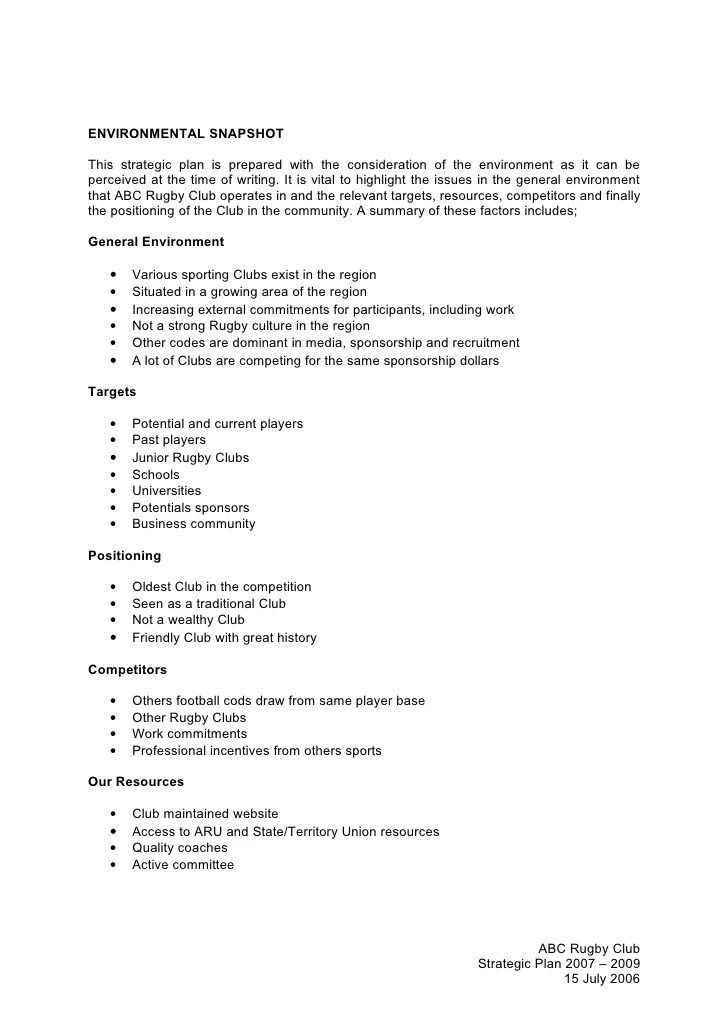 Strategic Plan Template What To Include In Yours Forbes 4 Abc Rugby Union Club Strategic Plan Template