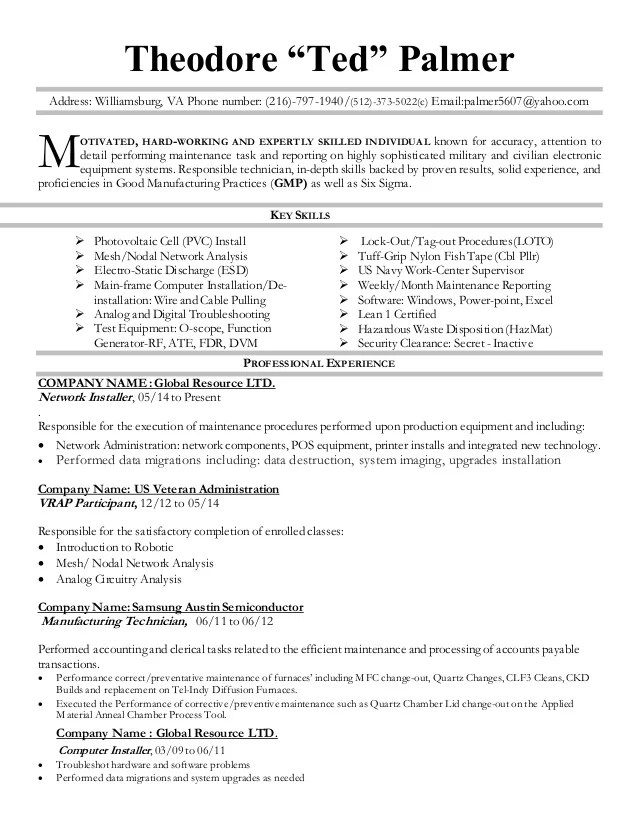 document technician resume