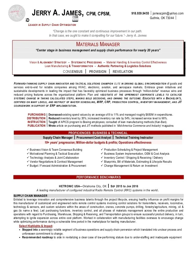 supply operation manager resume - zrom
