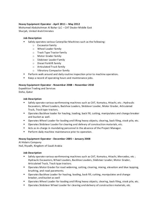 heavy machine operator job description - Goalgoodwinmetals
