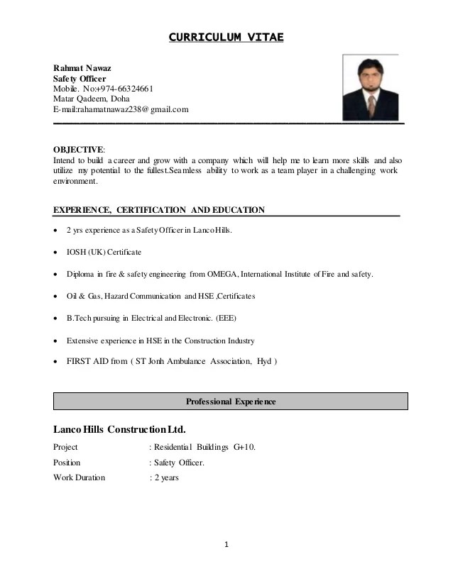 Safety Officer Cv Sample Formats And Templates Nawaz Safety Officer Cv