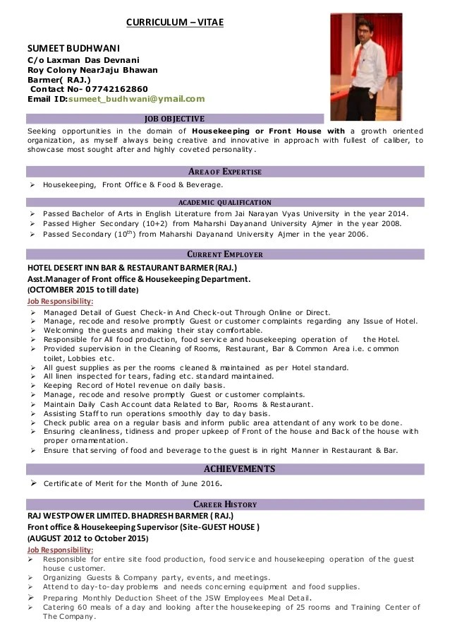 front of house resume - Josemulinohouse