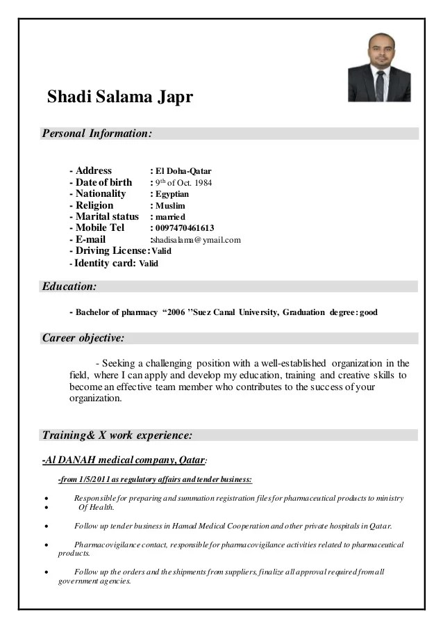 How To Write A Resume Monster Shadi Salama Cv Pharmacist
