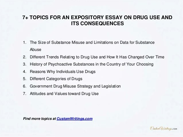 How To Write An Expository Essay On Drug Use And Its