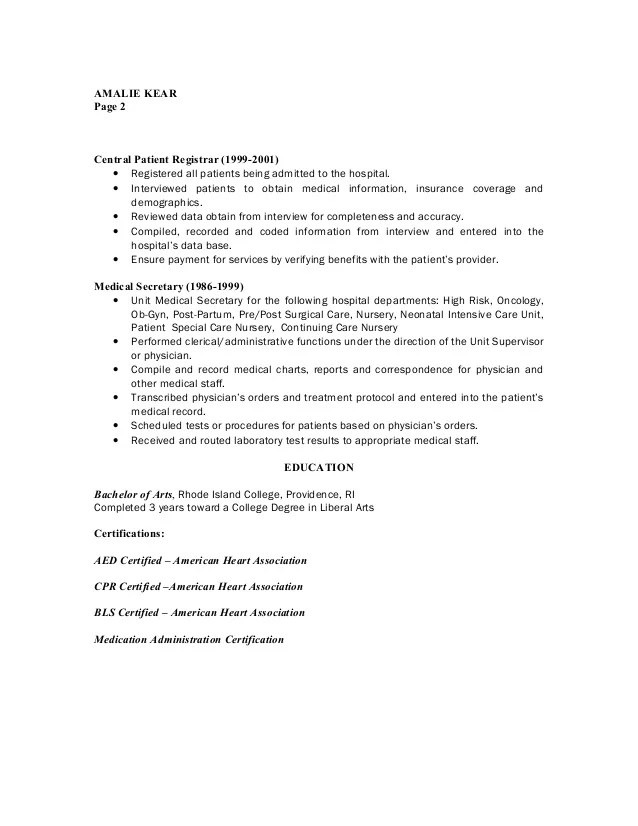 Patient Registrar Sample Resume Professional Hospital Registrar - assistant registrar sample resume
