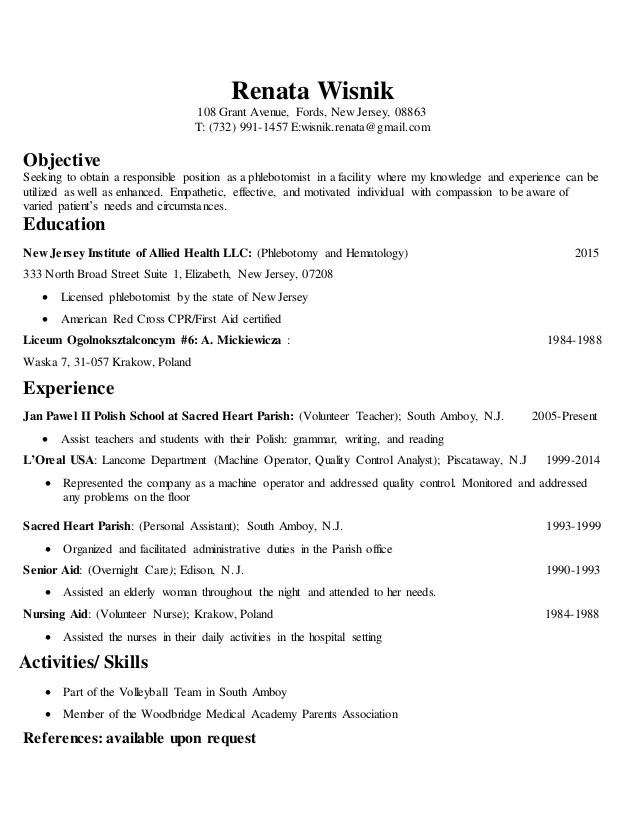 phlebotomist skills - Josemulinohouse