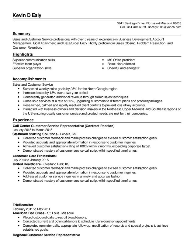 customer service representative bank resume