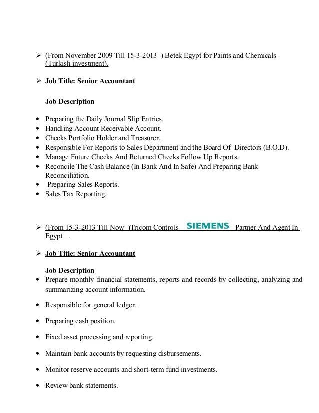 Job Description Reconciliation Accountant  Experience Letter Resume