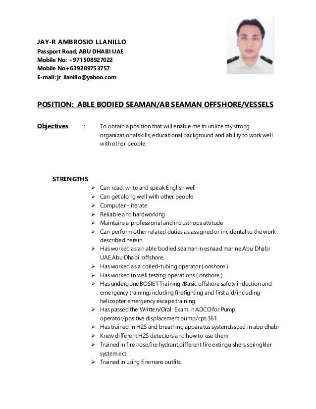 seaman resume sample philippines