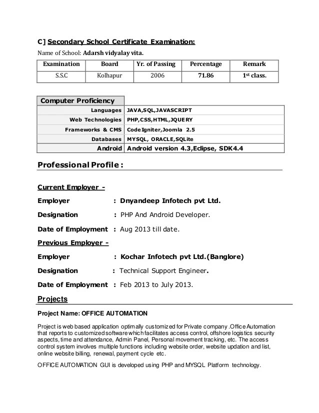sample resume 2 years experience dot net professional resumes