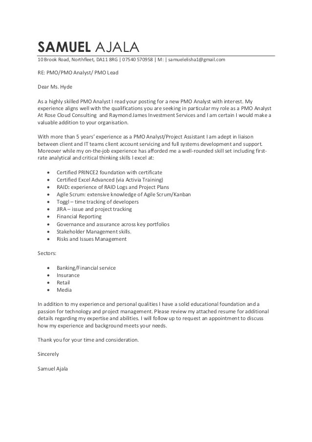 sample resume for pmo role