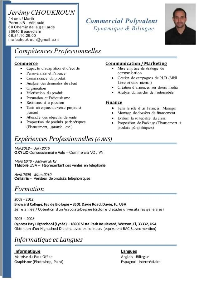 cv avec competences commerciales