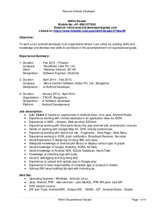 android developer resume - Jolivibramusic - Software Developer Resumes