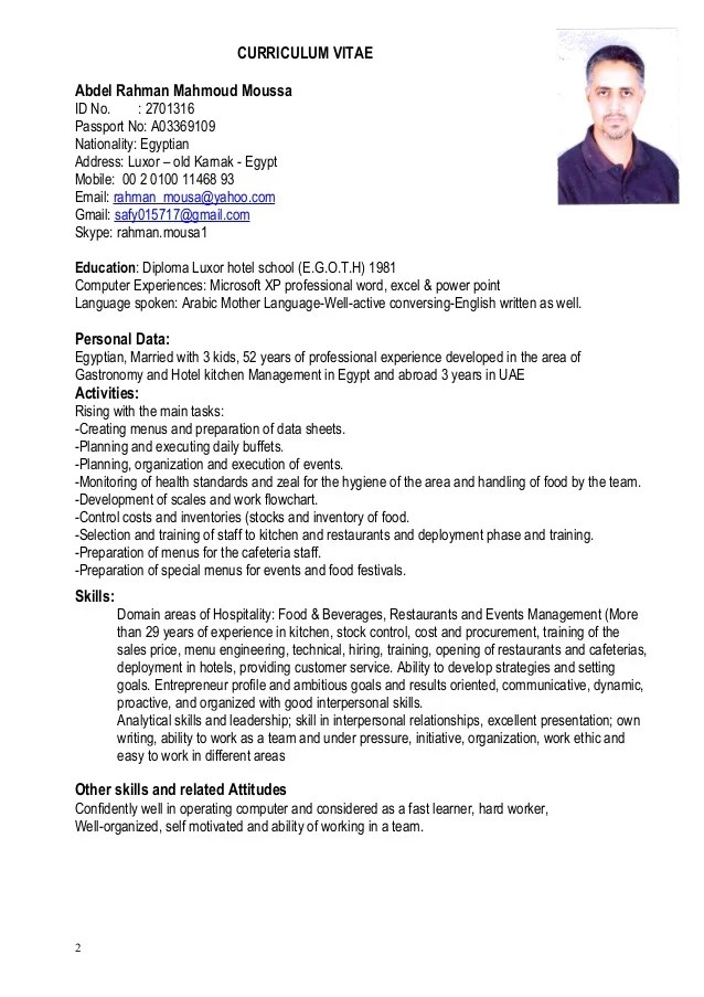 Resume English Fluent How To Write A Resume Or Cv In English Thoughtco Cv Executive Chef Abdelrahman Mousa