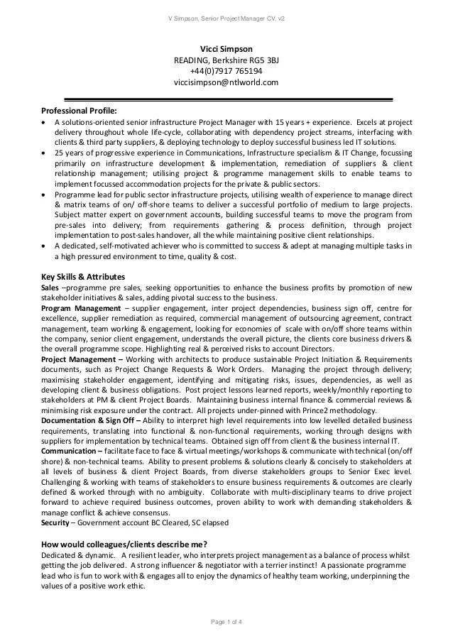 Experienced It Project Manager Resume Sample Monster V Simpson Senior Project Manager Resume V 2
