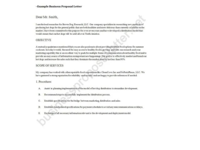 Business Proposal Letter Example #85   Letter Of Business Proposal