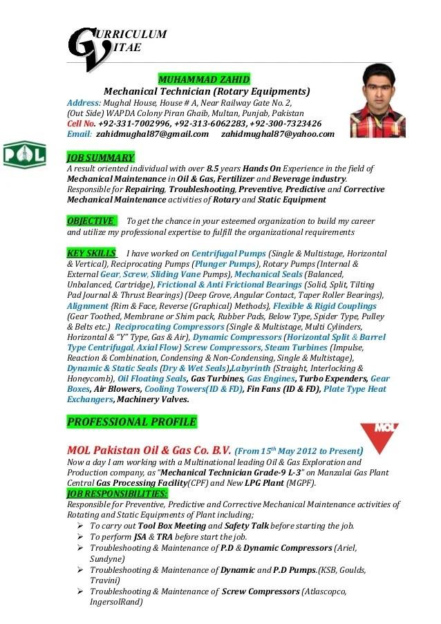 resume builder engineering free resume builder online resume builders muhammad zahid cv mechanical technician urriculum itae - Engineering Resume Builder