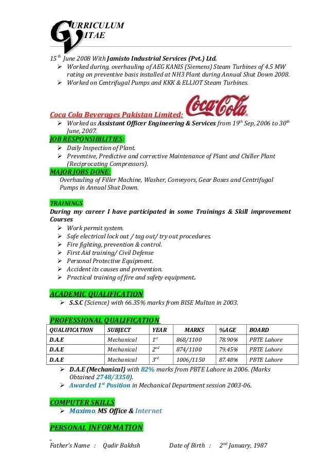 Good Resume Layout Example This Is What A Good Resume Should Look Like Careercup Muhammadzahid Cv Mechanical Technician