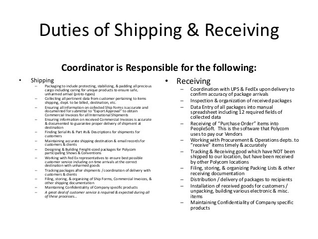 shipping and receiving duties resume