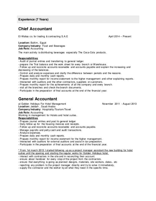 Chief Accountant Cv cvfreepro