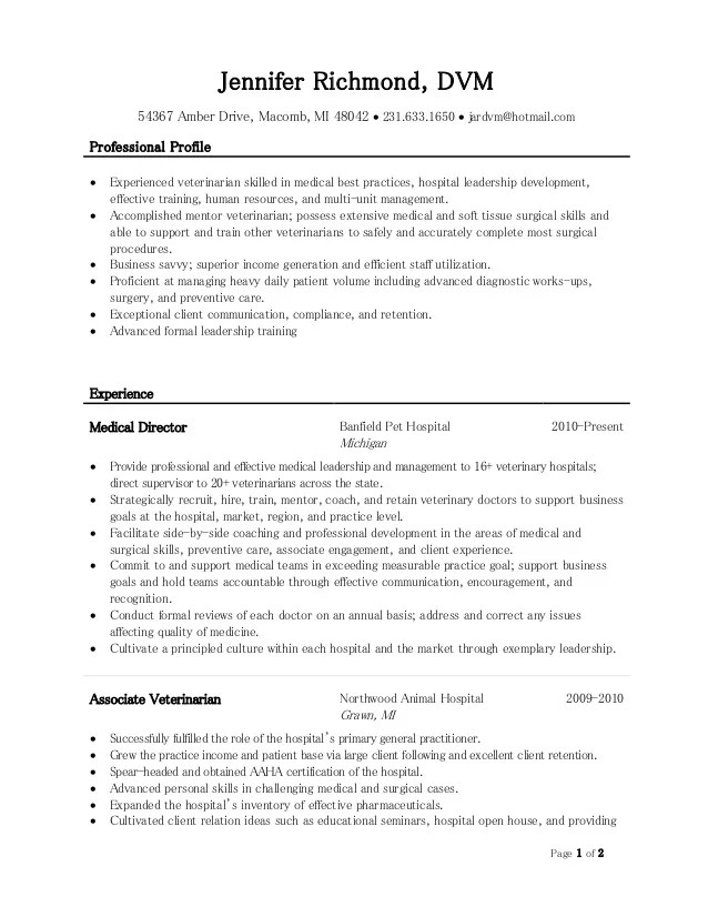 examples of vet school resumes