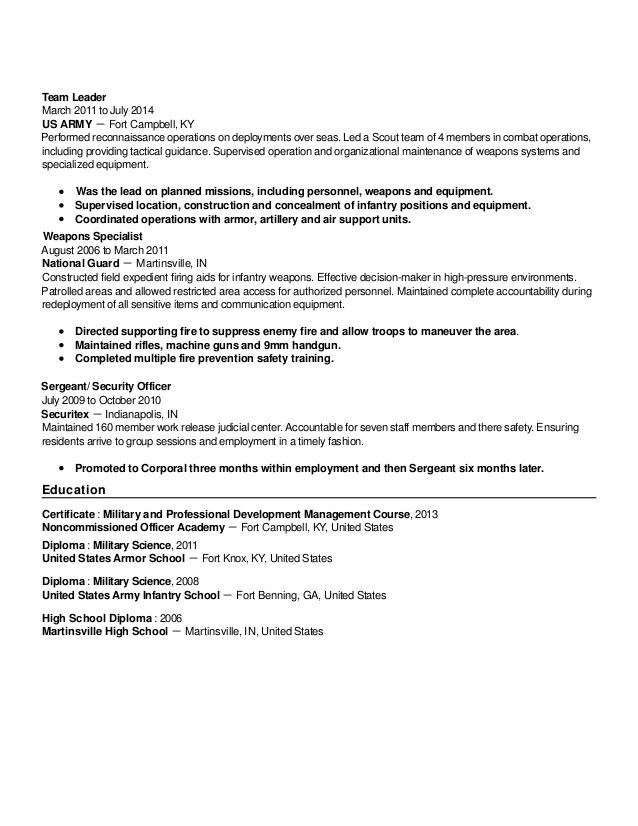 army infantry resumes - Onwebioinnovate - infantryman resume