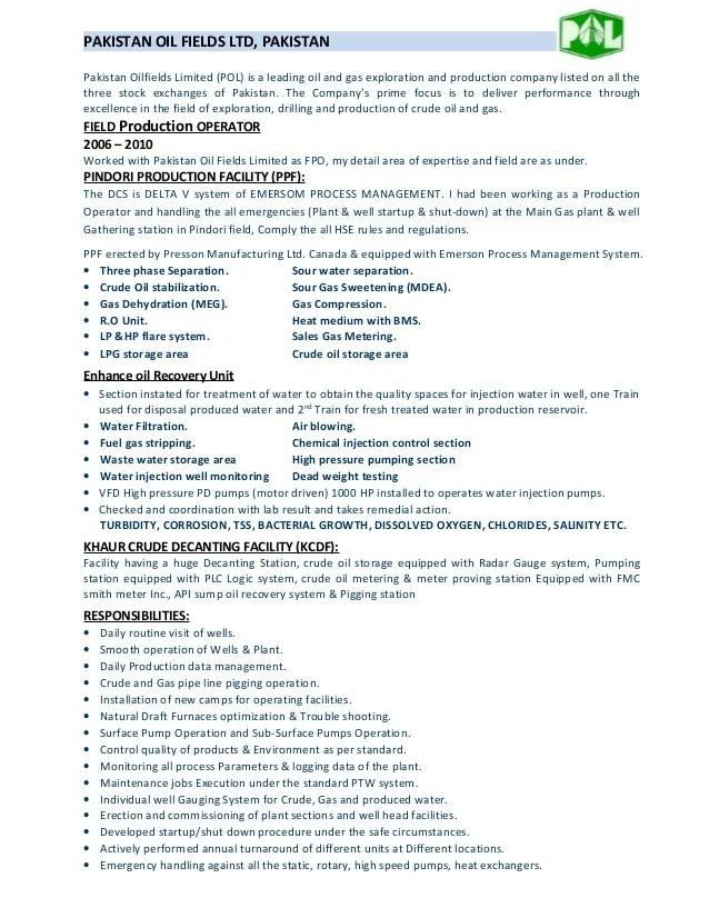 production operator resumes - Ozilalmanoof - power plant operator resume
