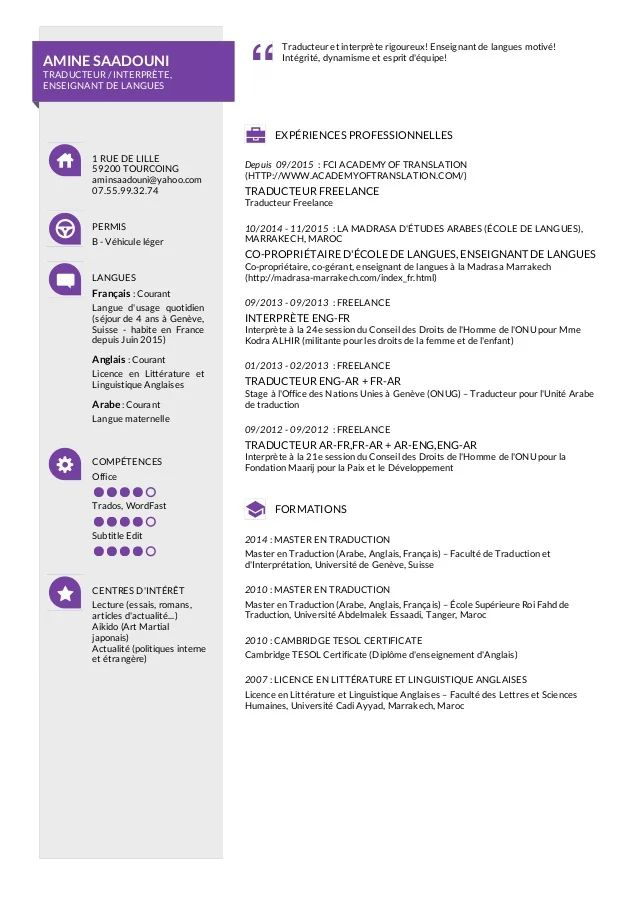 traducteur independante cv francais