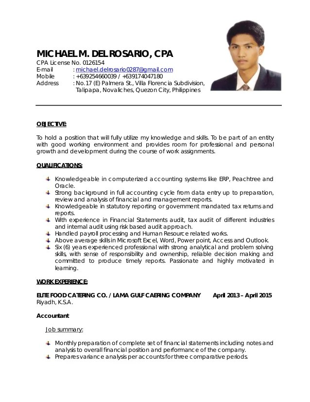 resume for cpa - Goalgoodwinmetals