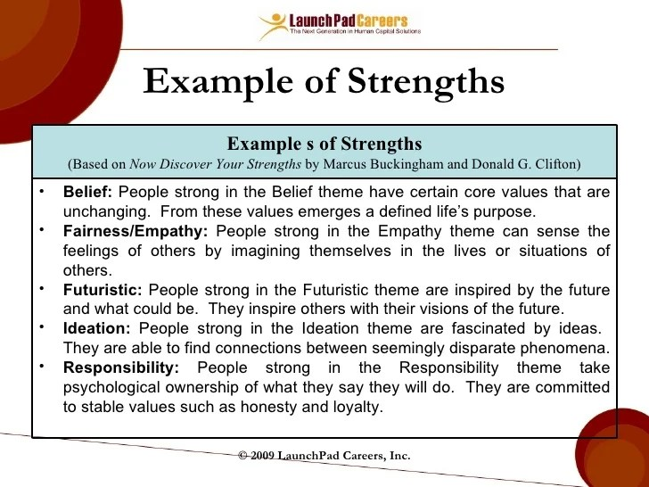 strengths and development opportunities examples - Boatjeremyeaton - career strengths examples