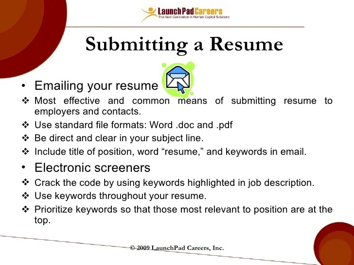 subject line email resumes